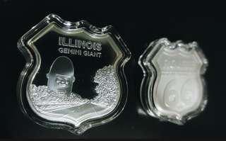 Icons of Route 66 Shield (Illinois Gemini Giant) 1 oz Silver