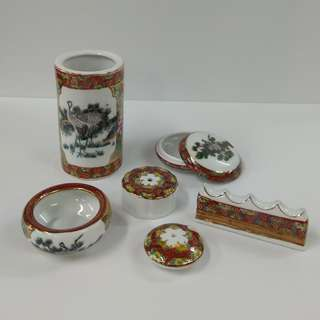6 pcs Porcelain Stationery Chinese Calligraphy Set In Colored Double Cranes Design