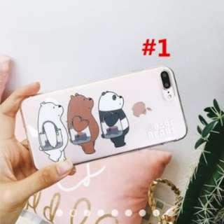 WM Lovely We Bare Bears Phone Case For iPhone X 6 7 8 Plus 5 5S SE