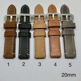 Premium Grade Genuine Leather Watch Strap - Dark Brown, Black, Tan, Brown, Grey