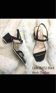 brand new black suede block heels