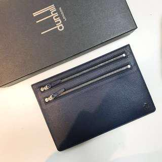 Dunhill 深藍色 leather clutch pouch