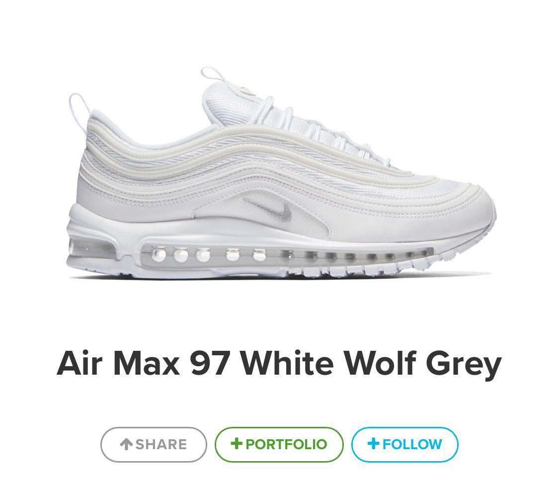 653658066f07e 30% OFF STEAL! Nike Air Max 97 White Size US 7 Men's / 8.5 Women's, Women's  Fashion, Shoes on Carousell