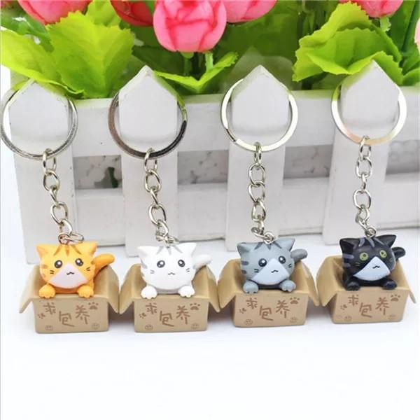 4 x small cute cat keychain great for gift