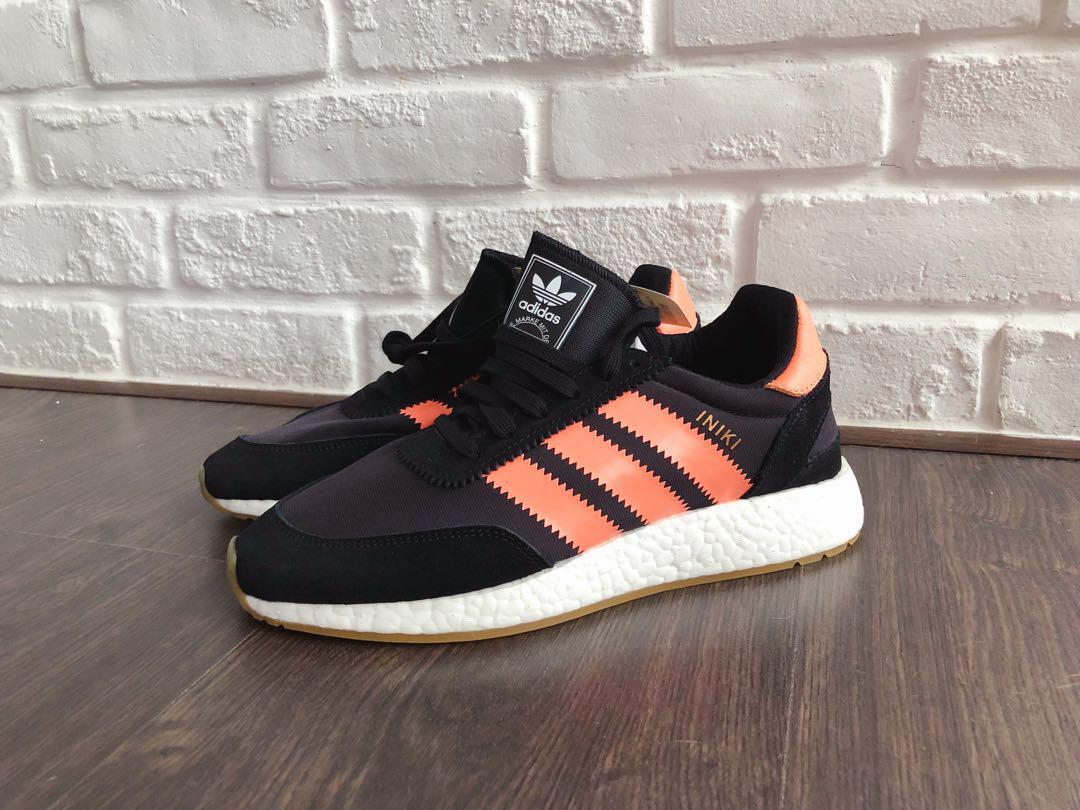 top brands online here newest Adidas Iniki I-5923 Black w Coral Pink Stripes UK 6.5 / EU ...