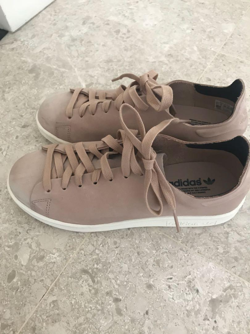 low priced 5336f 42b06 Adidas original Stan Smith Nuud Nubuck Trainers in pink ...