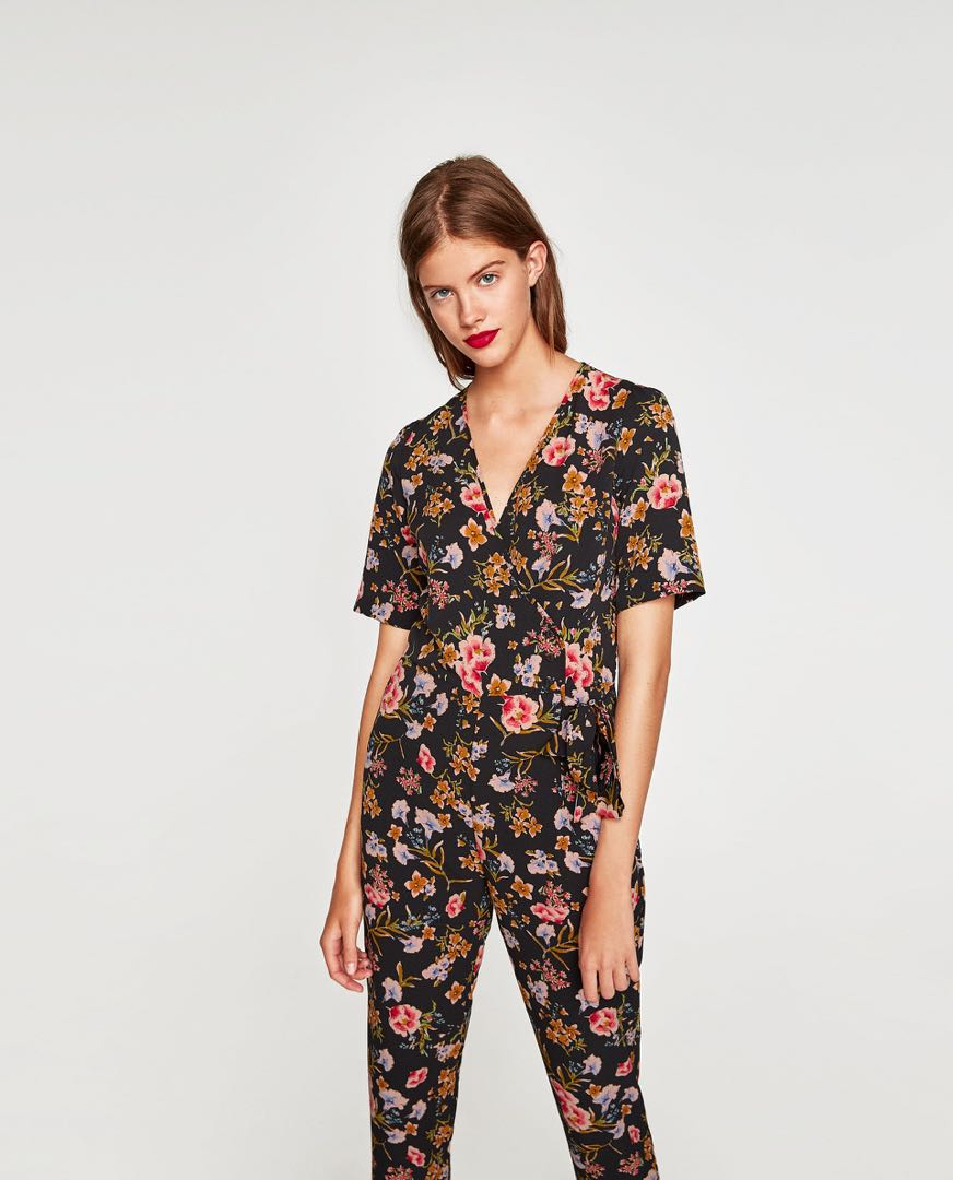 12b107cdf712 Authentic Zara Floral Wrap Jumpsuit