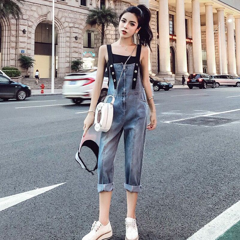 f57de4cf22 Black Inner Camisole Top With Denim Blue Coloured Overall Jumpsuit ...