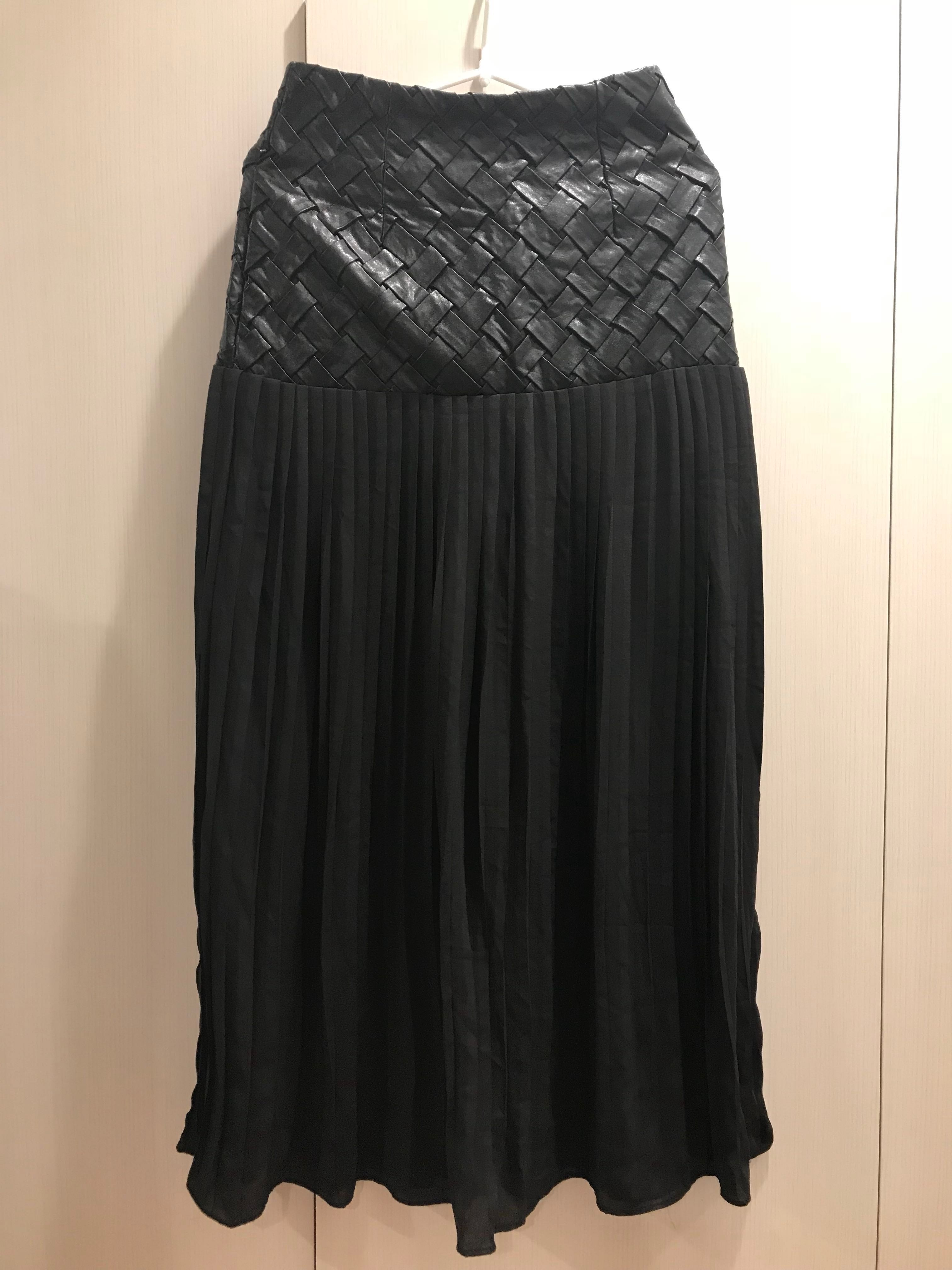 53959146d5 Black leather and chiffon pleated midi skirt BNWT, Women's Fashion ...