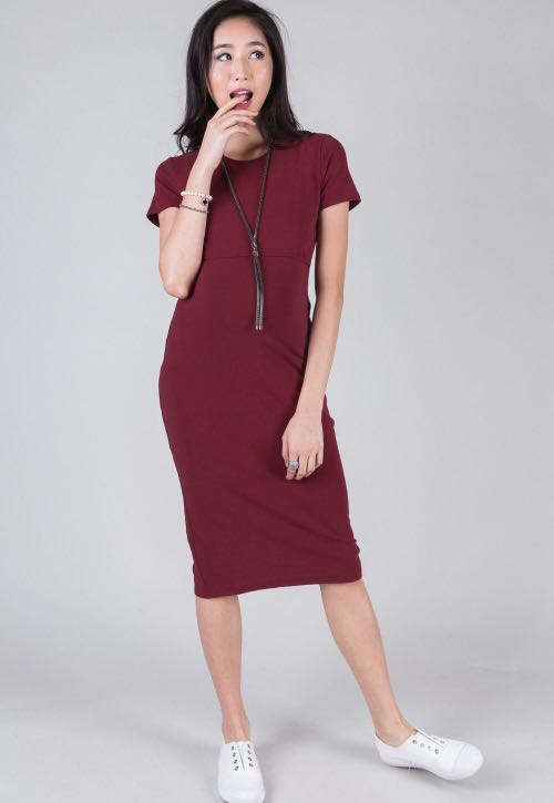 bc3c33a344c BN Jump Eat Cry Ruby Midi Bodycon Nursing Dress