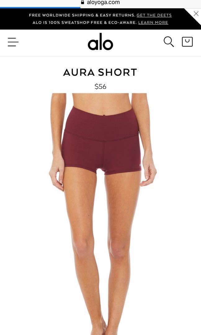 fb880a4600 BNWT Alo Yoga Aura shorts black cherry, Women's Fashion, Clothes ...