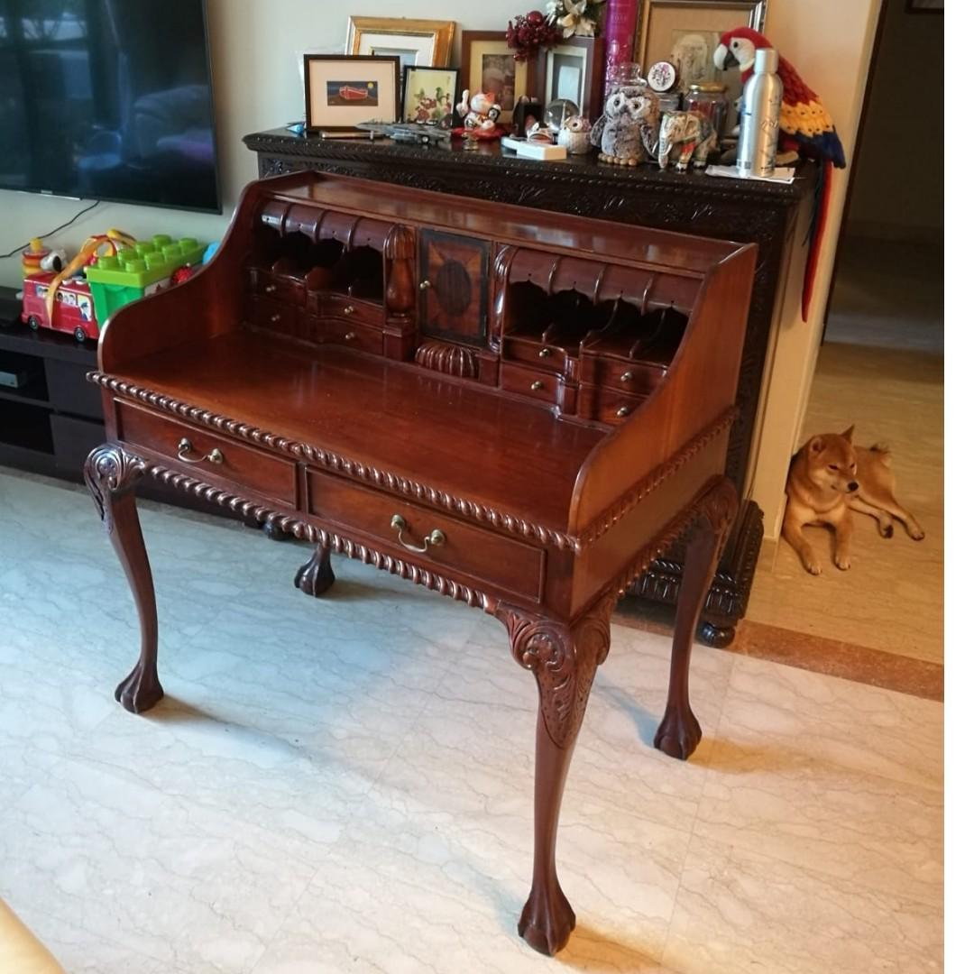 Colonial Vintage Writing Desk Teak Furniture Home Decor