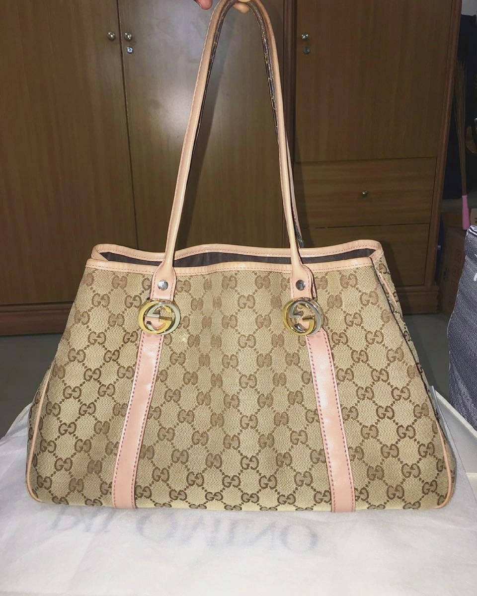 Tas Gucci 100% Authentic branded second original GG Canvas Twins Tote 93639d20da
