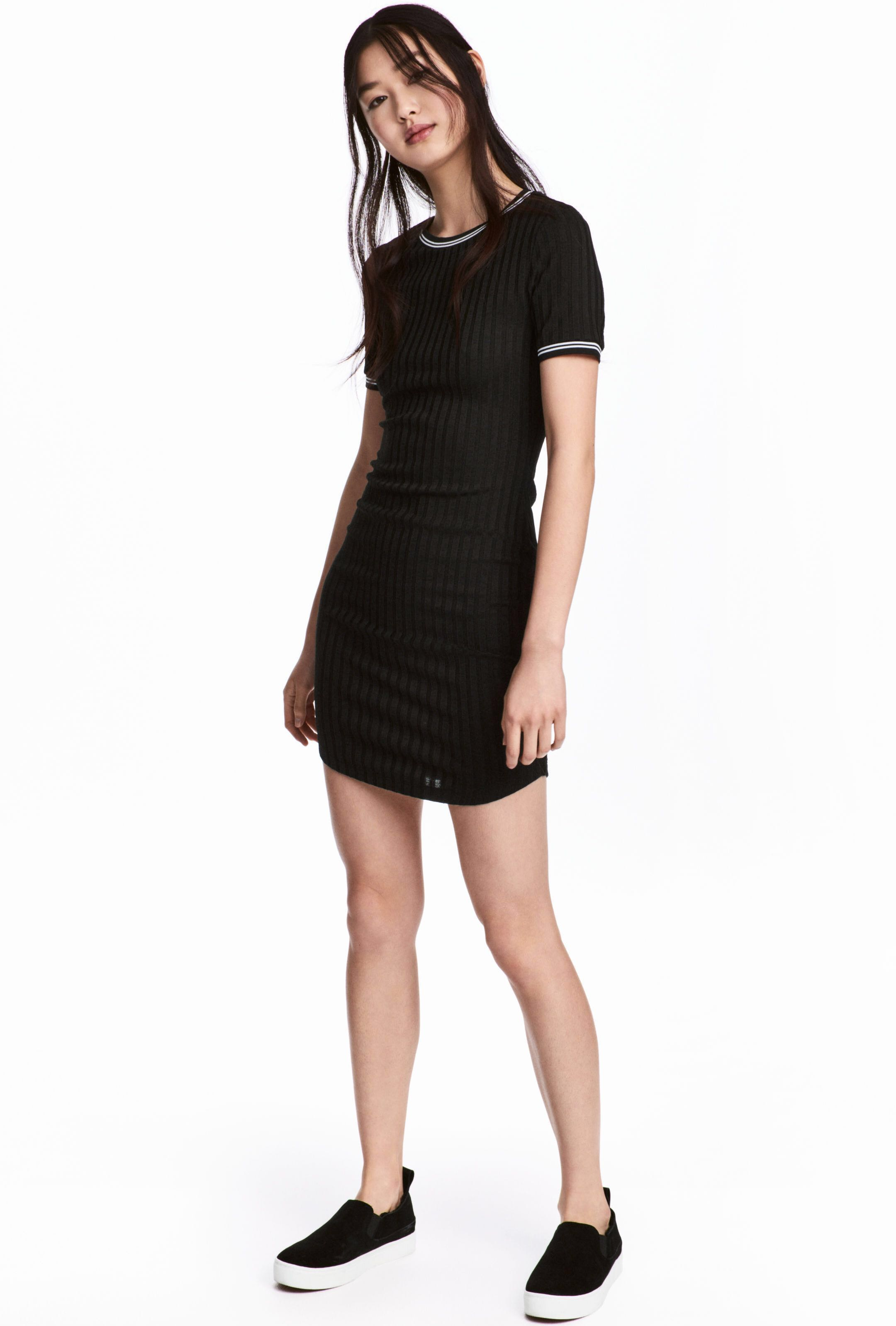 640e11bf4b0 H M Black Ribbed Dress