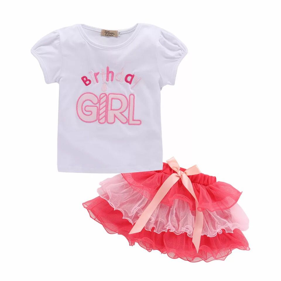 INSTOCK 2pc Embroidered Birthday Girl Shirt Top Pink Tulle