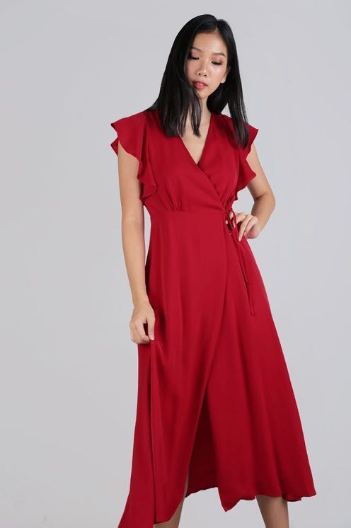 7d85a50821 Judith wrap front maxi dress (scarlet), Women's Fashion, Clothes ...