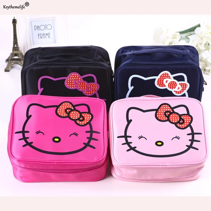 f7ff8b0b40 Keythemelife Women Makeup Cosmetics Bag Storage Pouch Cute Hello Kitty  Pouch Storage Bag Travel Carrying Case 1D