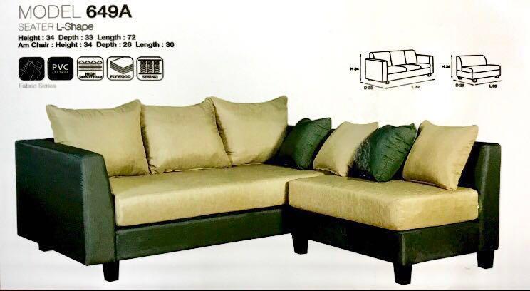 L Shaped Designer Fabric Sofa 4 Pillows Furniture Sofas On Carousell