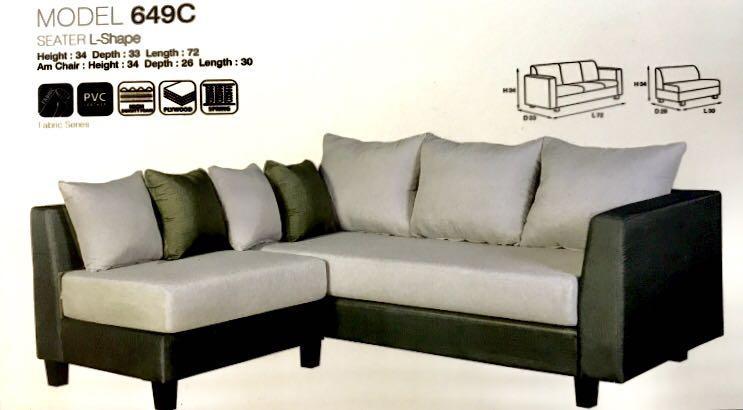 L Shaped Designer Fabric Sofa 4 Pillows White Washed Furniture