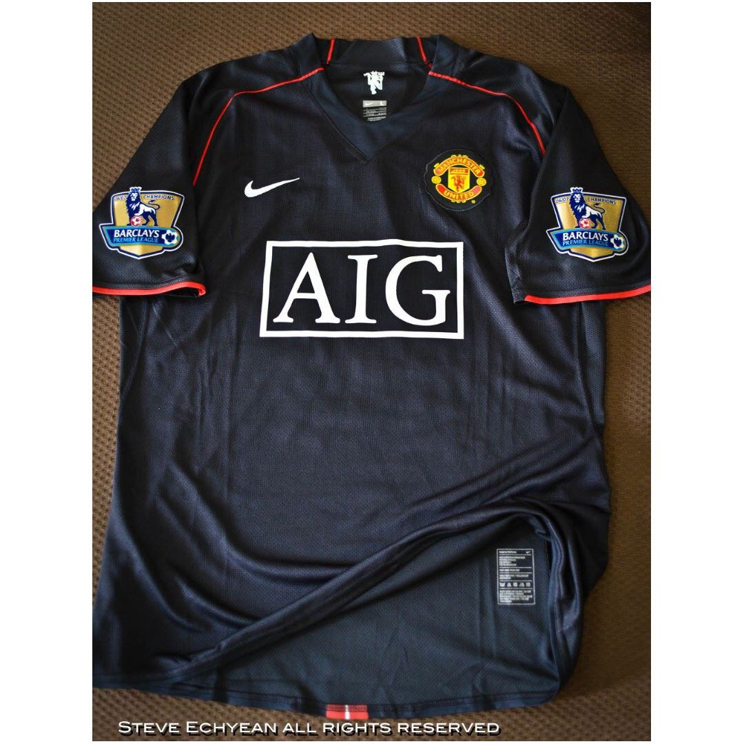 ed84647eaee Manchester United 2007 08 Player Issue Black Pearl kit with Paul Scholes  Nameset   BPL Champion Patches