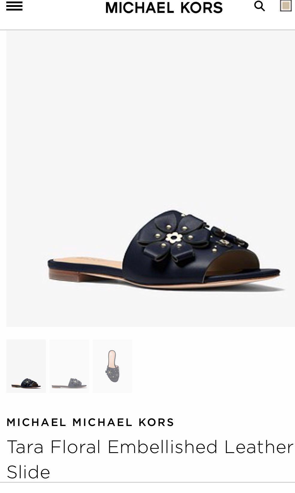 56649fc39a8 Michael Kors Leather Tara Floral slide