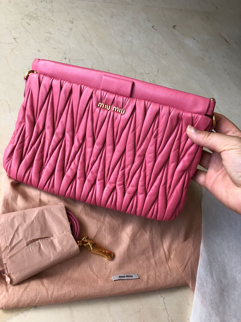 d0af06974ea075 Miu Miu Matelasse Clutch, Luxury, Bags & Wallets, Handbags on Carousell
