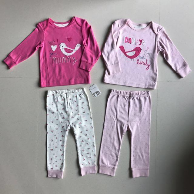 00ab24e9f7c7 Mothercare 9-12M 2 Pcs X 2 Sets Pyjamas for Baby Girl (4 Pcs Bundle ...