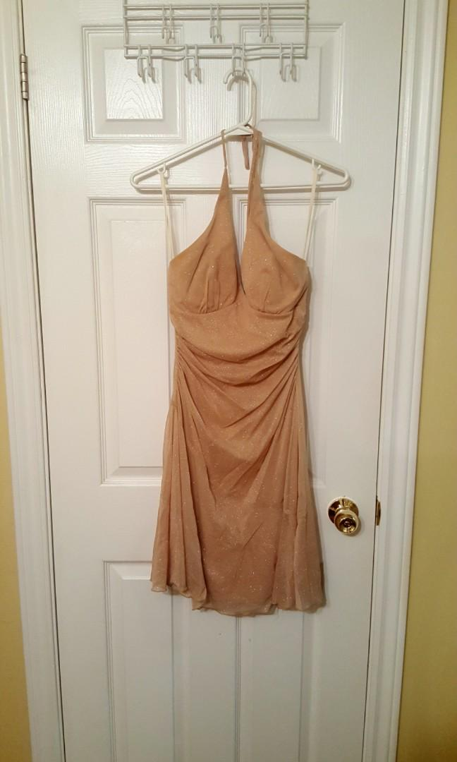 Nude halter evening dress (size small) - Worn only once!