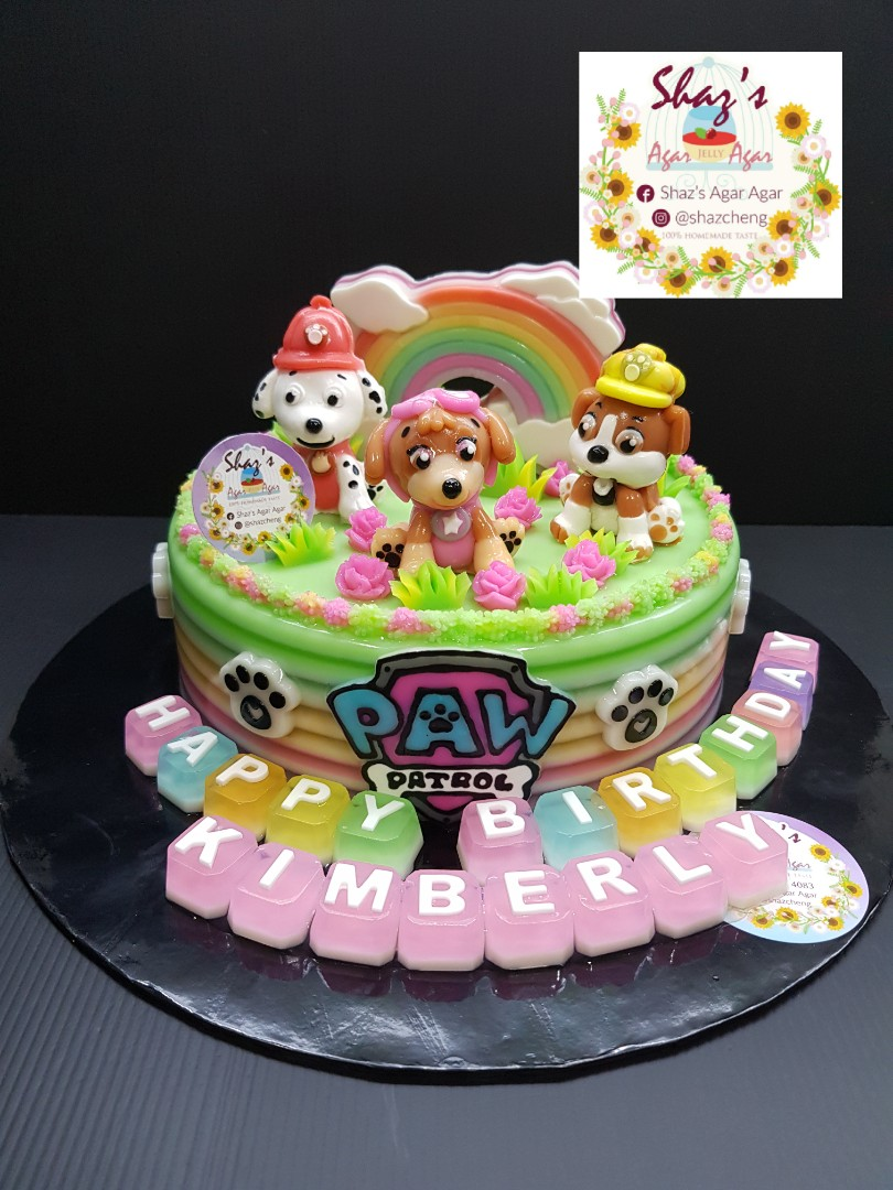 Paw Patrol Theme AgarAgar Jelly Birthday Cake Food Drinks Baked Goods On Carousell