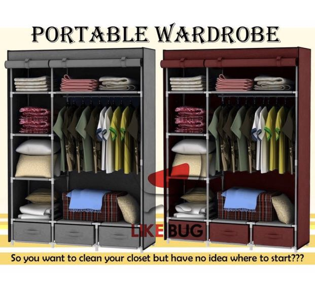 Portable Roll Up Wardrobe With 3 Storage Bottom Drawer Furniture