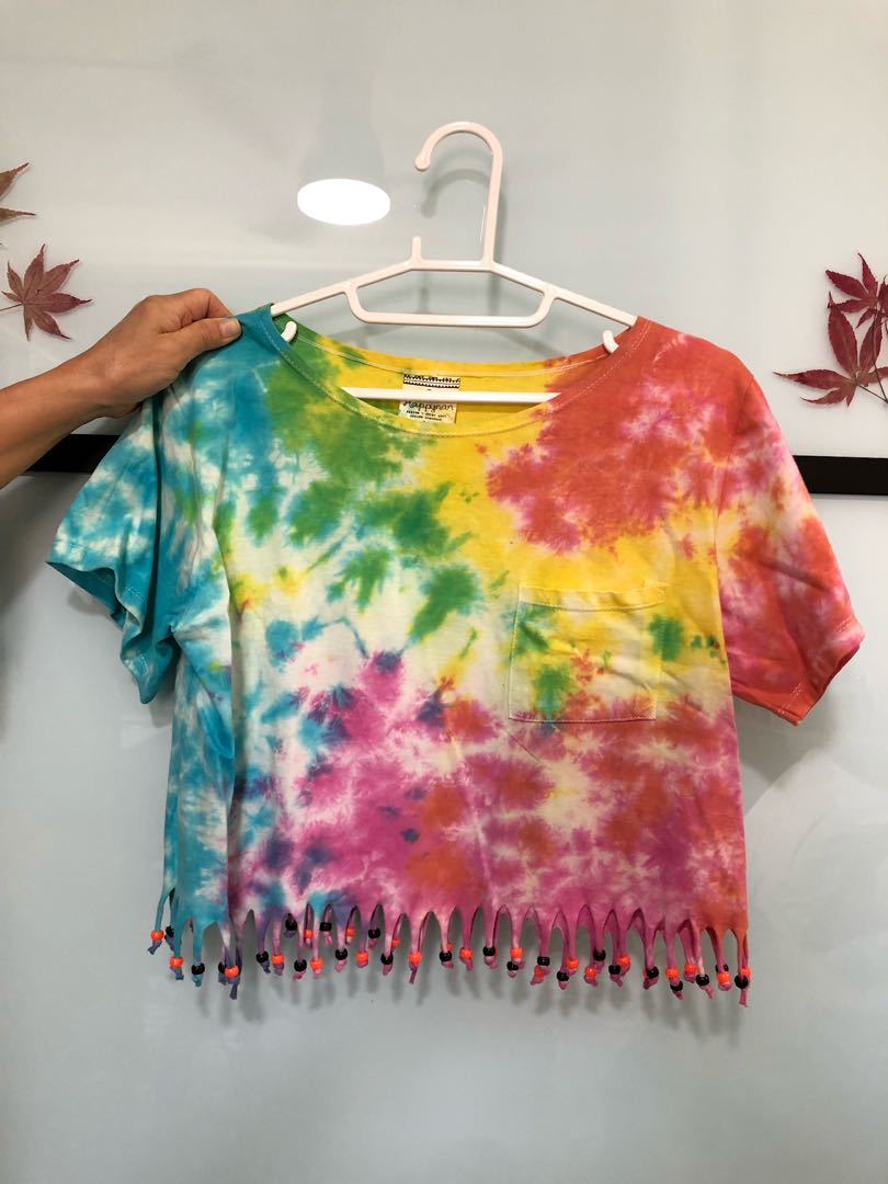 f53f19dce4466 Rainbow tie dye Crop Top