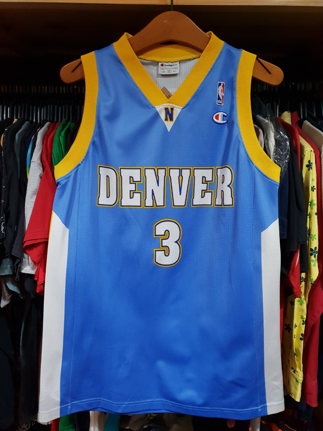 finest selection d0398 2237b Rare Champion Iverson Denver Nuggets Basketball Jersey