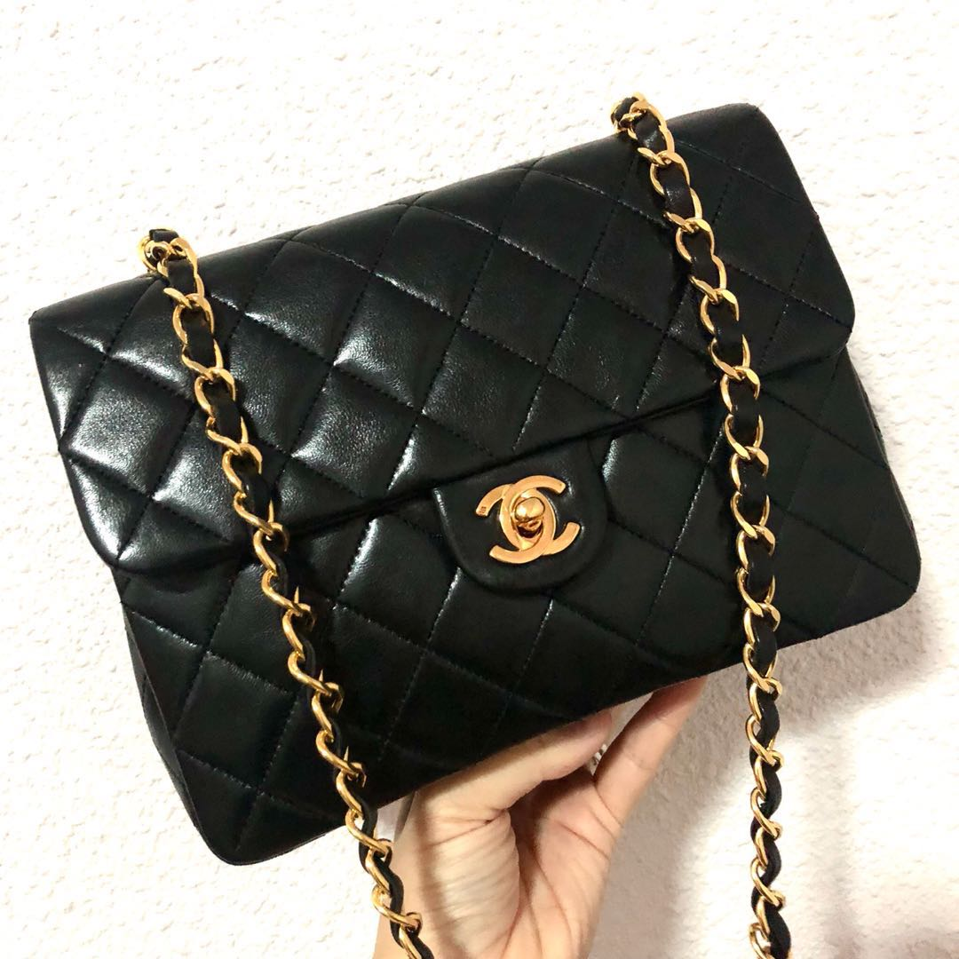 f970633c924b32 RESERVED Authentic Chanel Lambskin 20Cm Square Mini with 24k Gold ...