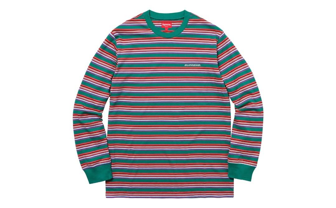 4a8267d670 Supreme Multi Stripe Long Sleeves Top M Green Shirt, Men's Fashion ...