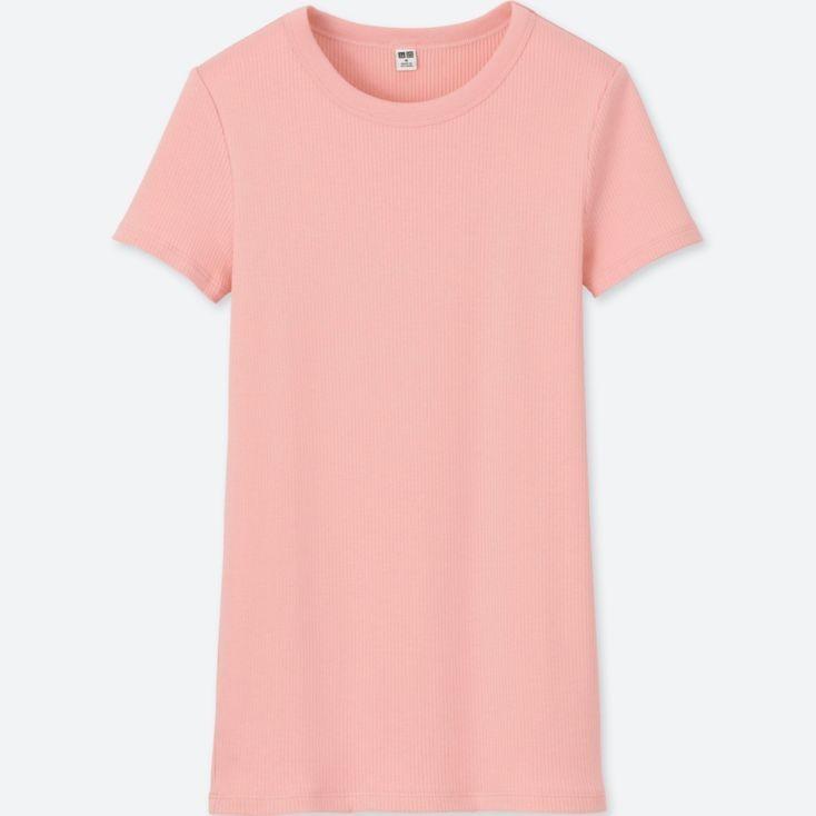 50aff757 Uniqlo WOMEN RIBBED CREWNECK SHORT-SLEEVE T-SHIRT, Women's Fashion ...