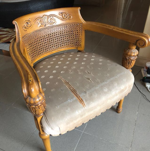 Vintage Indonesian Carving Arm Chair Pre Loved Furniture Tables