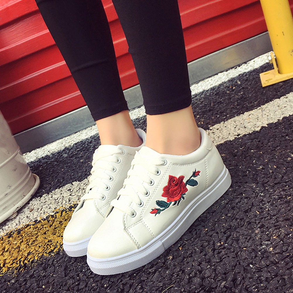 93f140810 Women Embroidered Flower Running Sneakers Flat Shoes Trainers Hot ...
