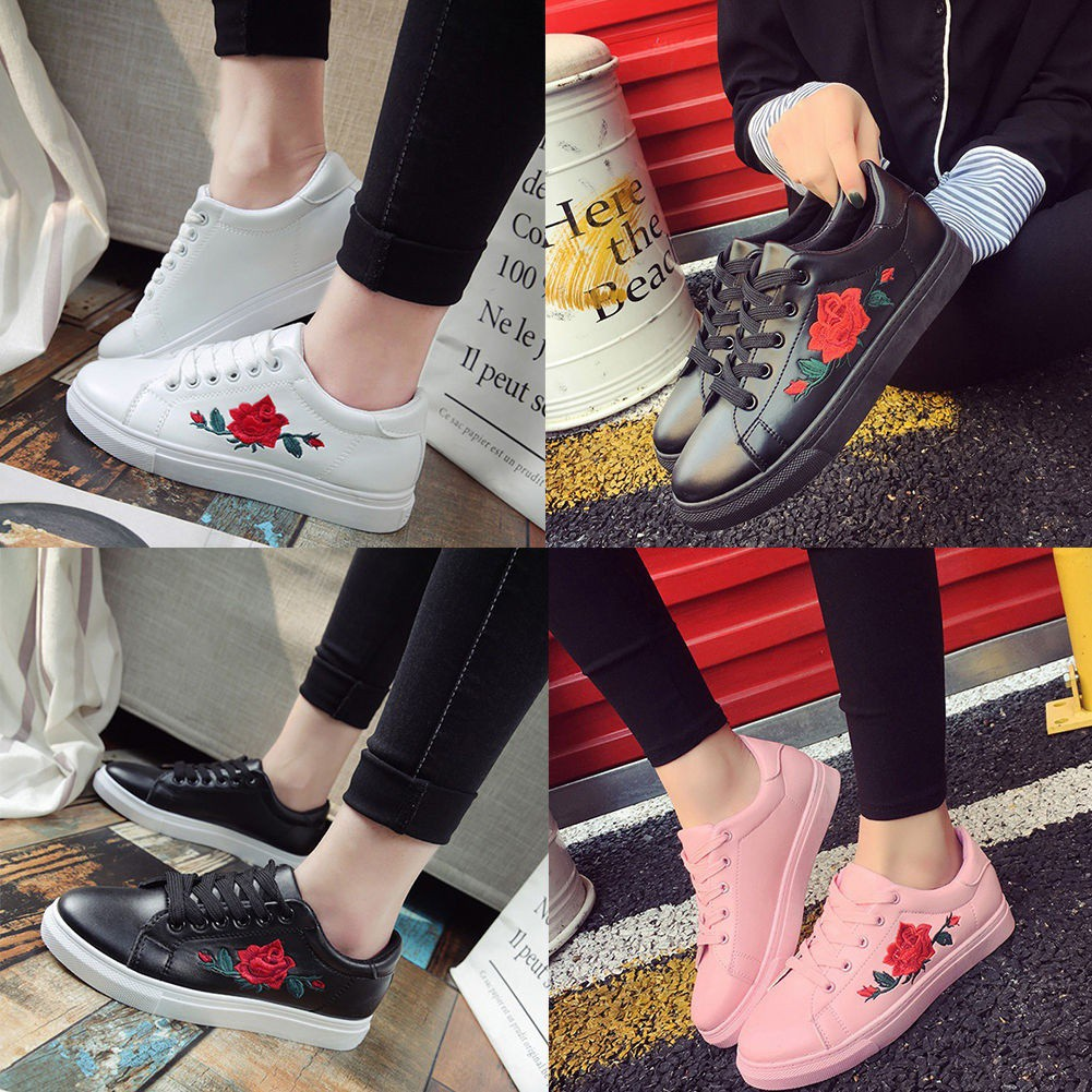 a74e330e0 Women Embroidered Flower Running Sneakers Flat Shoes Trainers Hot Sale