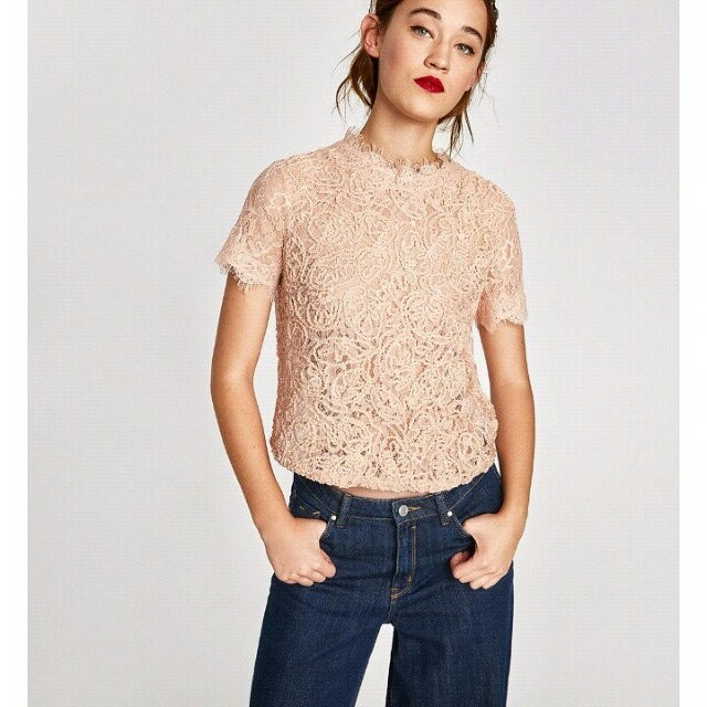 45e833034c0683 Sale! Zara Embroidered Lace Top