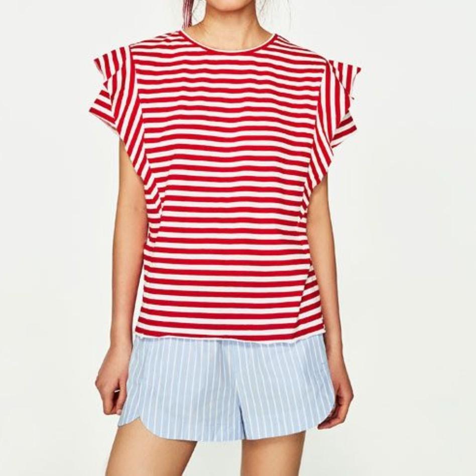 d6a668fc479 Zara Red Stripes T-Shirt