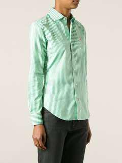 🚚 Free mailing! A&F Green Stripe White Base Formal button up Oxford Shirt