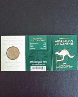 2009 - 60 Years of Australian Citizenship $1 Unc Coin