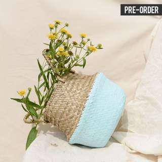 [PO] Nordic Style Bottom Dipped Light Blue Woven Basket