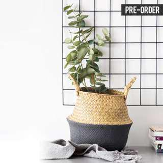 [PO] Nordic Style Bottom Dipped Dark Grey Woven Basket