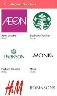 FREE VOUCHERS! Starbucks AEON HM H&M Monki