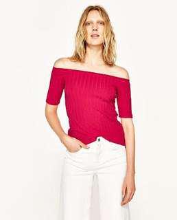 Bnwt Zara Pink Ribbed Off shoulder top
