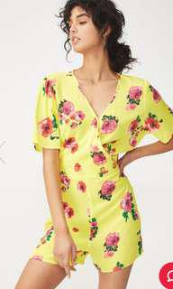 Summer yellow floral romper playsuit