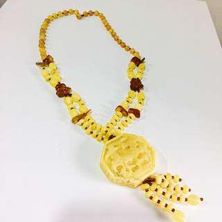 Pseudo-Amber long necklace