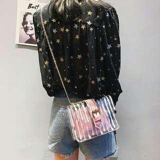 transparent clear sling bag