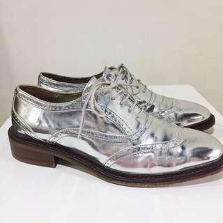 Zara Genuine Leather Silver Brogues/Oxford shoes